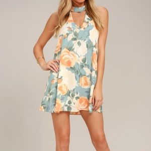 Sage and Peach Floral Dress